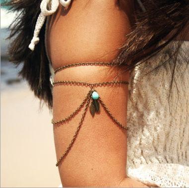 Bracelet bras feuilles turquoise boho bohème chic BIJ0677