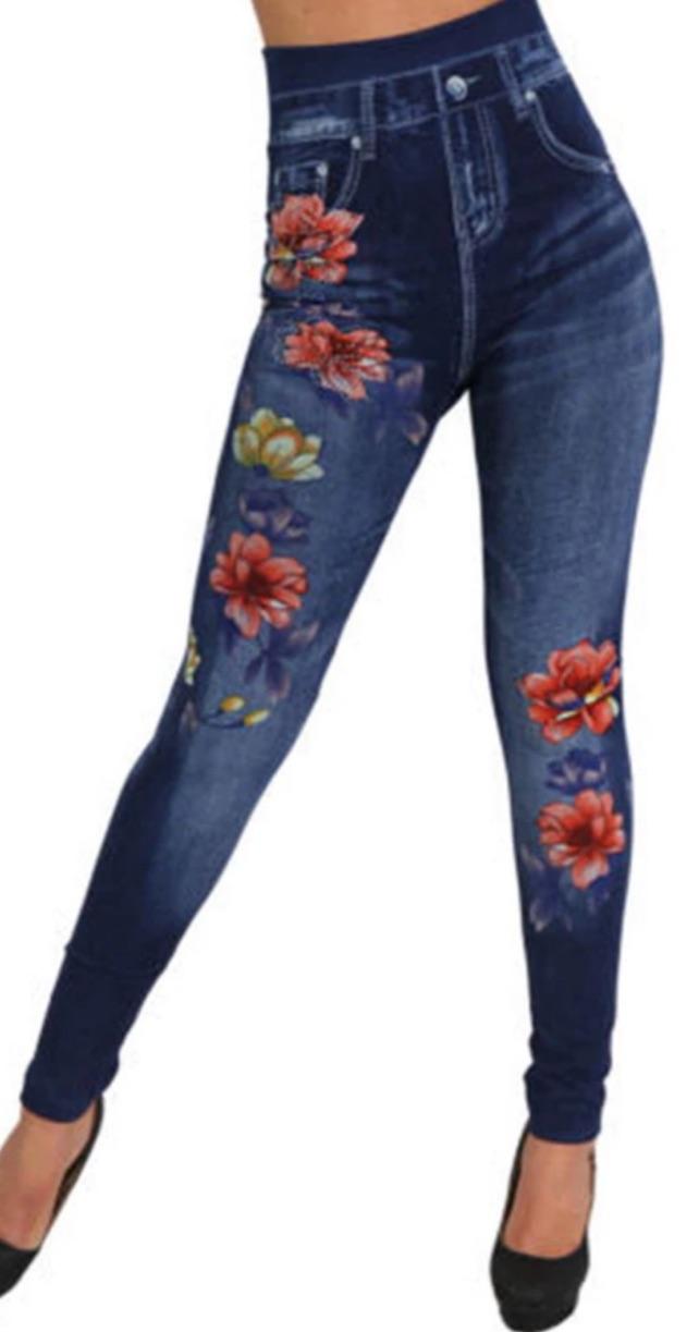 Legging bleu jean imprimé fleurs boho boheme chic legg0217