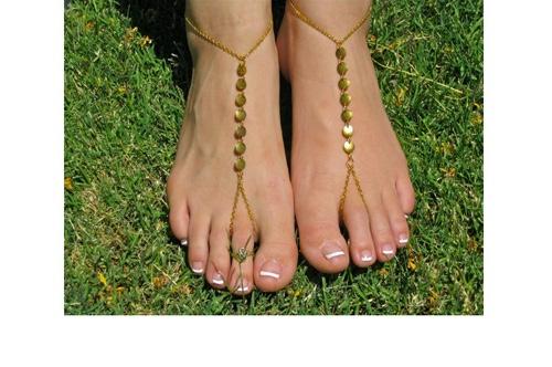 Bracelet cheville doré ronds boho bohème chic BIJ0676