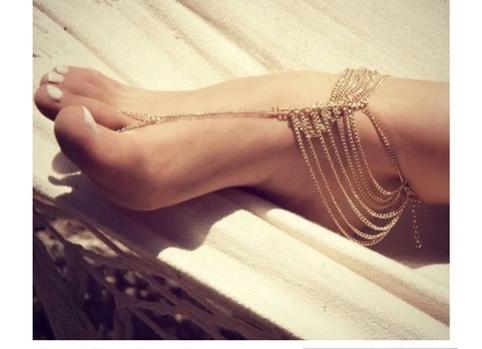 Bracelet cheville doré chaines boho bohème chic BIJ0675