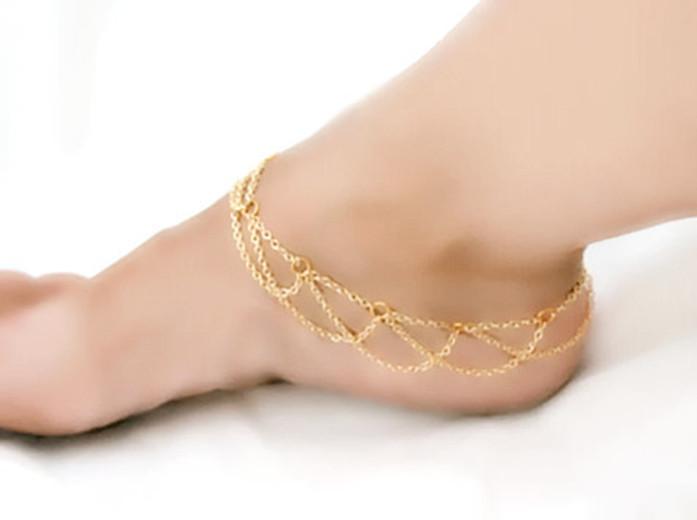 Bracelet cheville doré chaines boho bohème chic BIJ0674