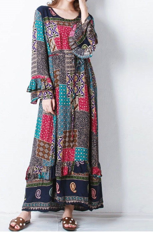 Robe longue imprimée hippie marque boho boheme chic dressl1394