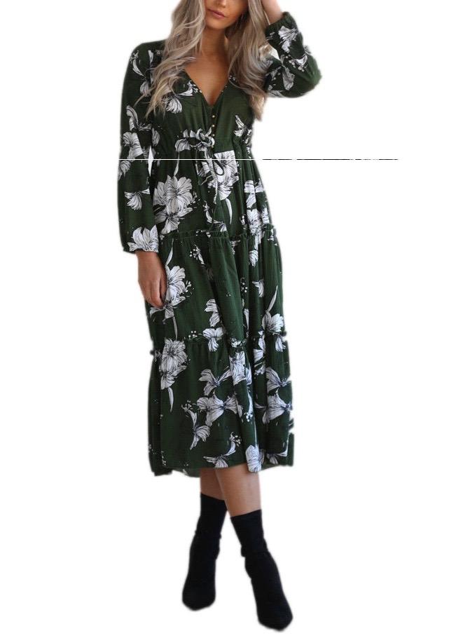 Robe vintage imprimé fleurs marque boho boheme chic DRESSL1381