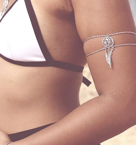 Bracelet avant-bras rond plumes boho boheme chic BIJ0650