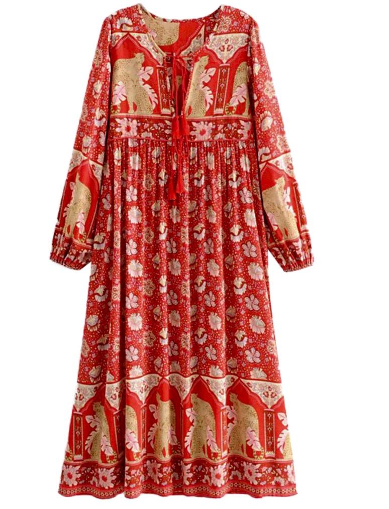 Robe longue imprimée fleurs boho bohème chic  DRESSL1704
