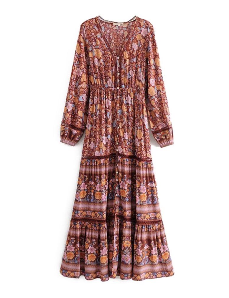 Robe longue imprimée boho bohème chic DRESSL1696