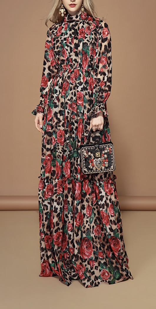 Robe très longue haute qualité fleurs léopard soie boho boheme chic DRESSL1684
