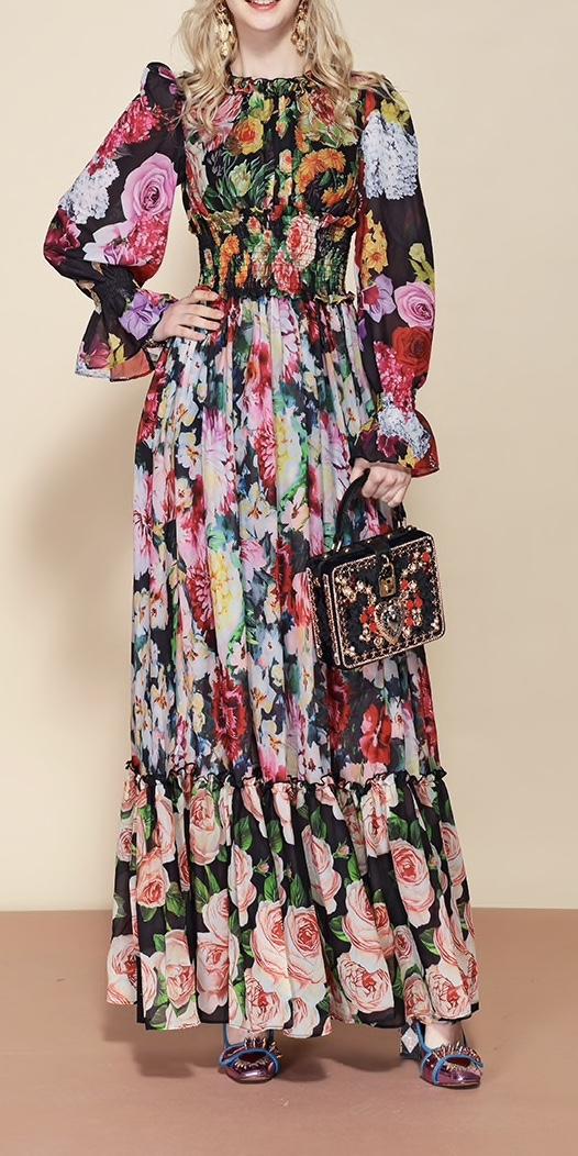 Robe longue haute qualité fleurs soie boho boheme chic DRESSL1683