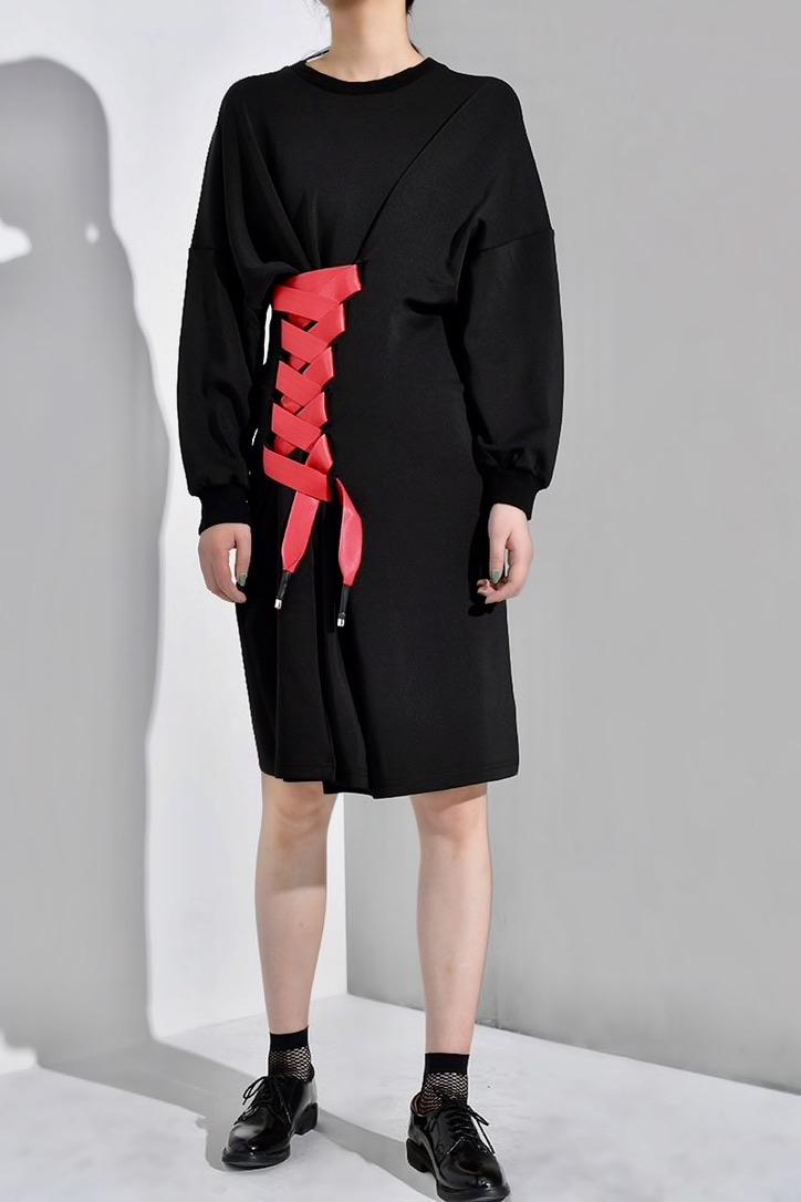 Robe sweater laçage rouge boho bohème chic DRESSL1681