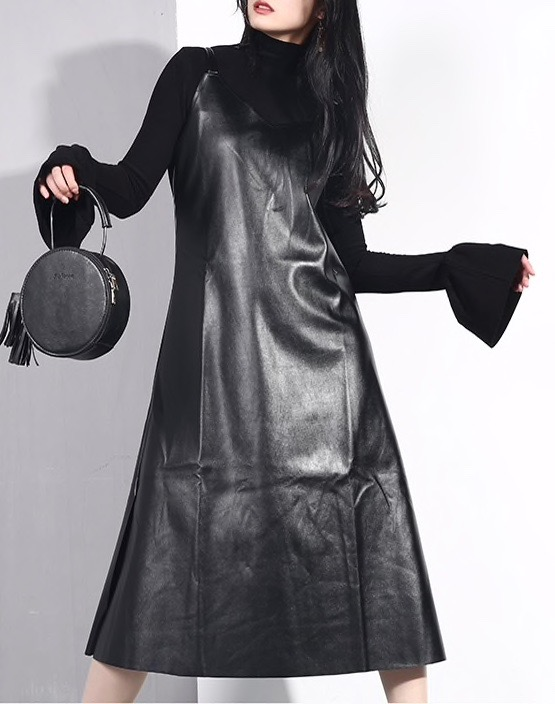 Robe mi longue faux cuir boho bohème chic DRESSL1680