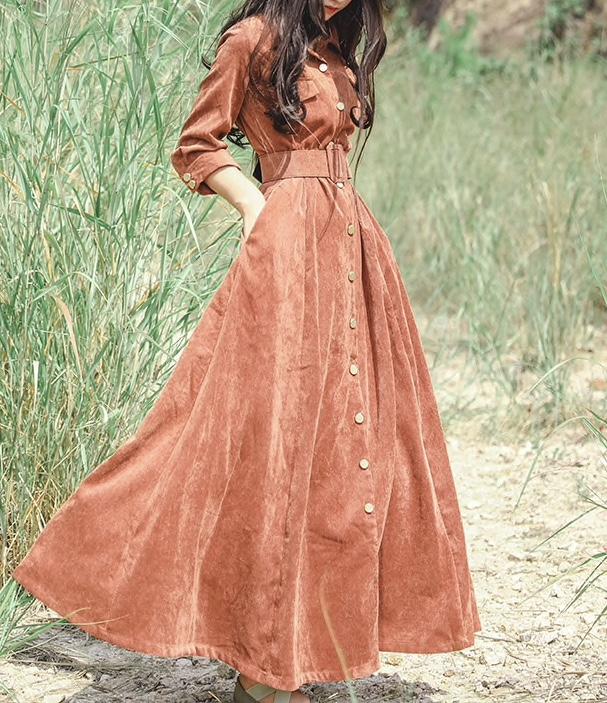 Robe longue velours ceinture boho bohème chic DRESSL1679