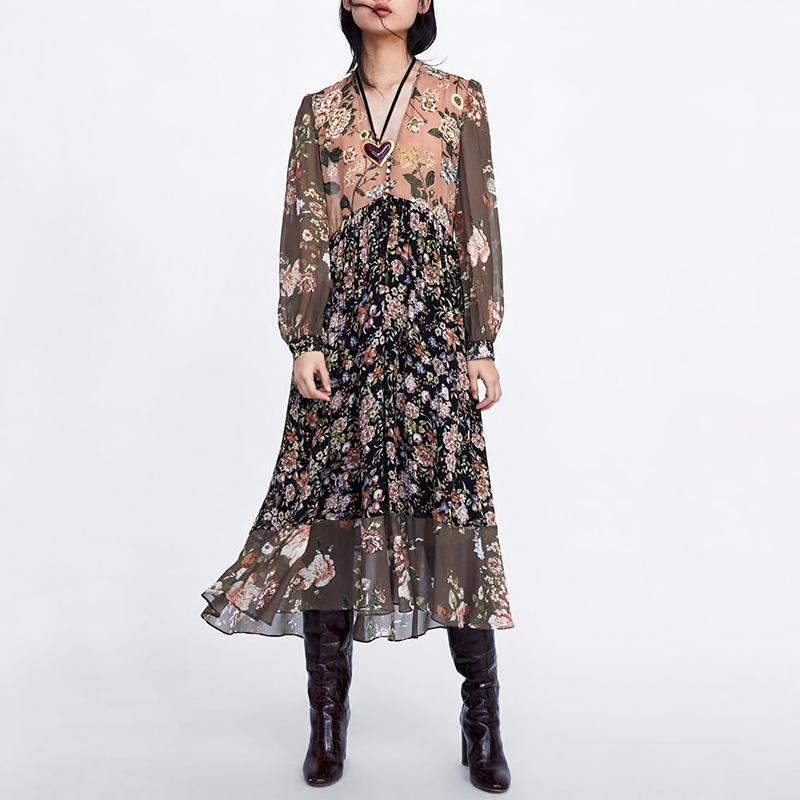 Robe imprimée longue vintage marque boho bohème chic dressl1675
