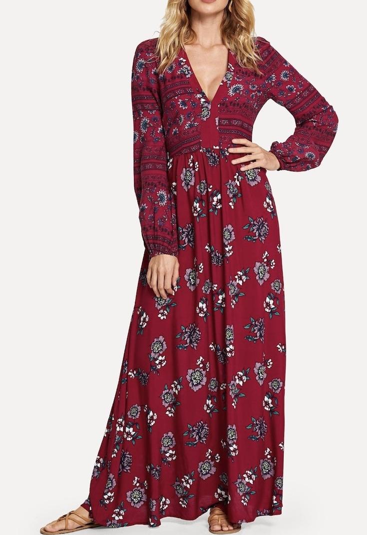 Robe longue imprimée fleurs boho bohème chic DRESSL1664