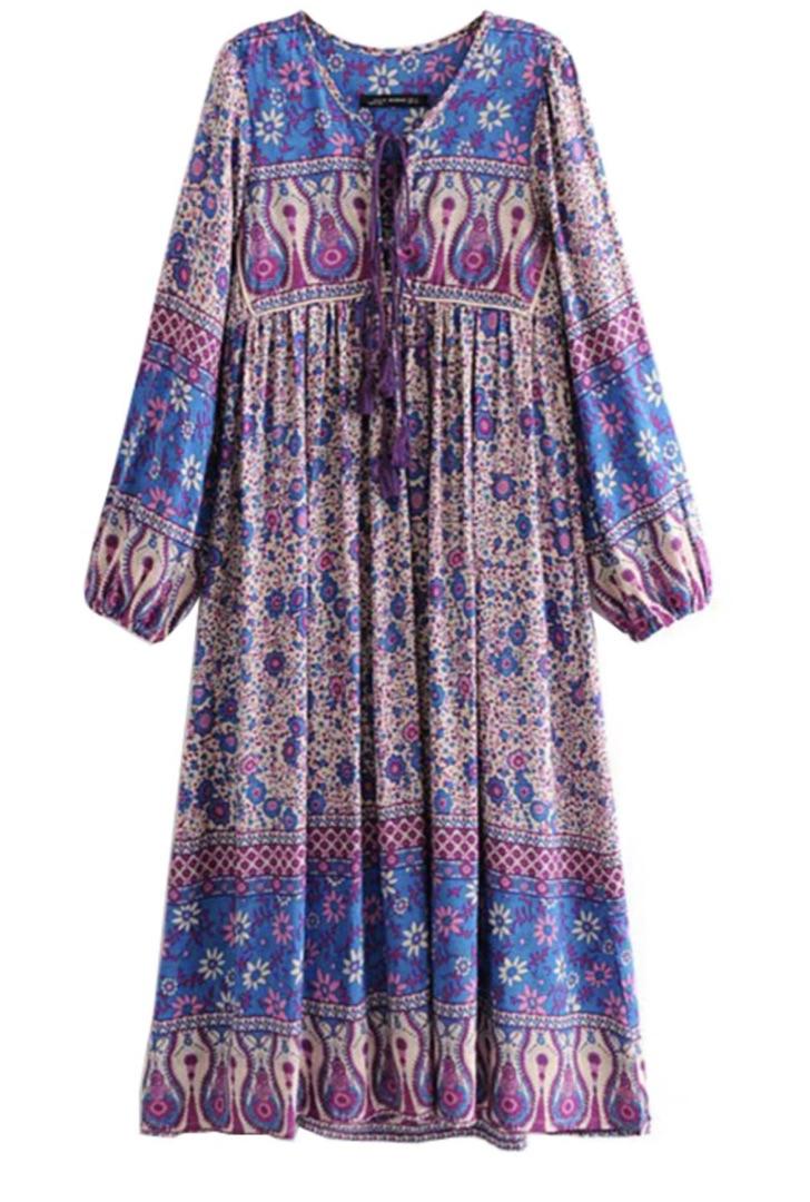 Robe longue imprimée fleurs boho bohème chic DRESSL1560