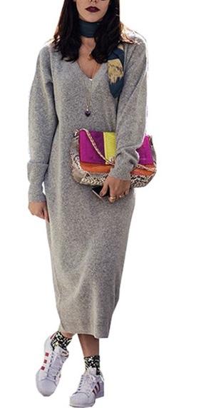 Robe pull longue laine col v boho bohème chic DRESSL1520