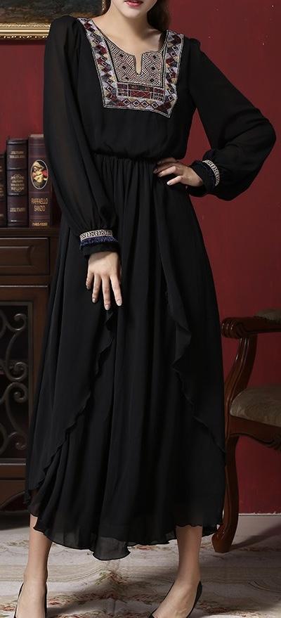 Robe longue brodée haute qualité boho boheme chic DRESSL1023