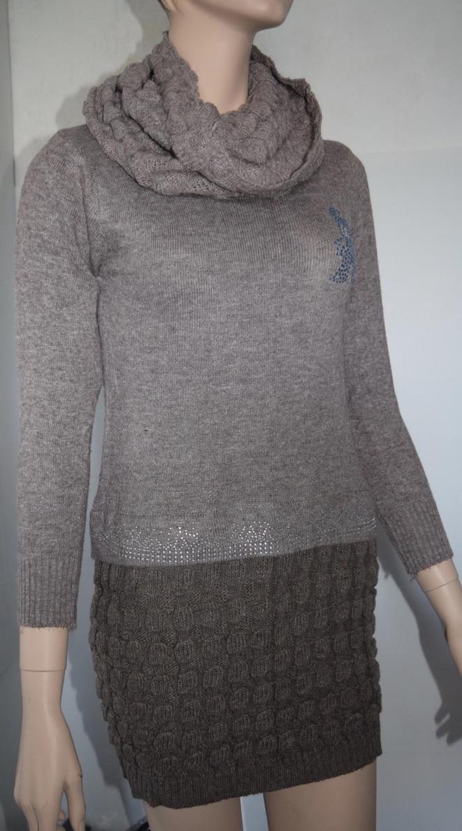 Pull robe laine col séparé boho boheme chic  DRESS0099