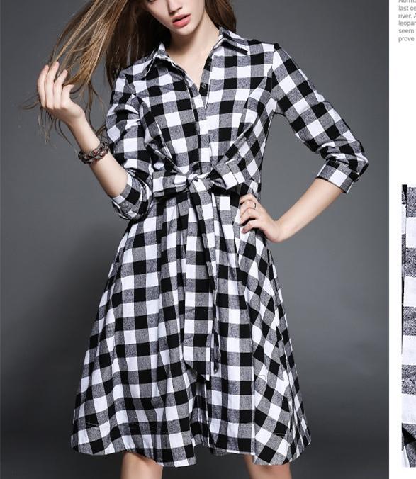 Robe carreaux noirs et blancs boho boheme chic DRESS0852