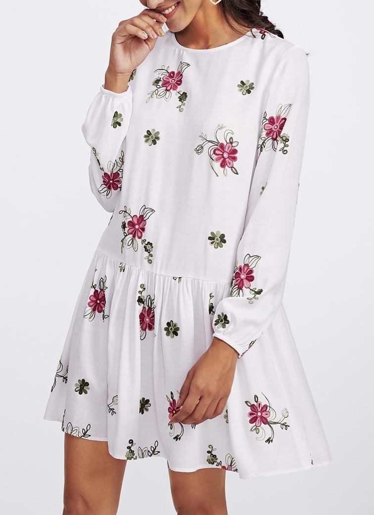 Robe courte brodée fleurs boho boheme chic DRESS1344