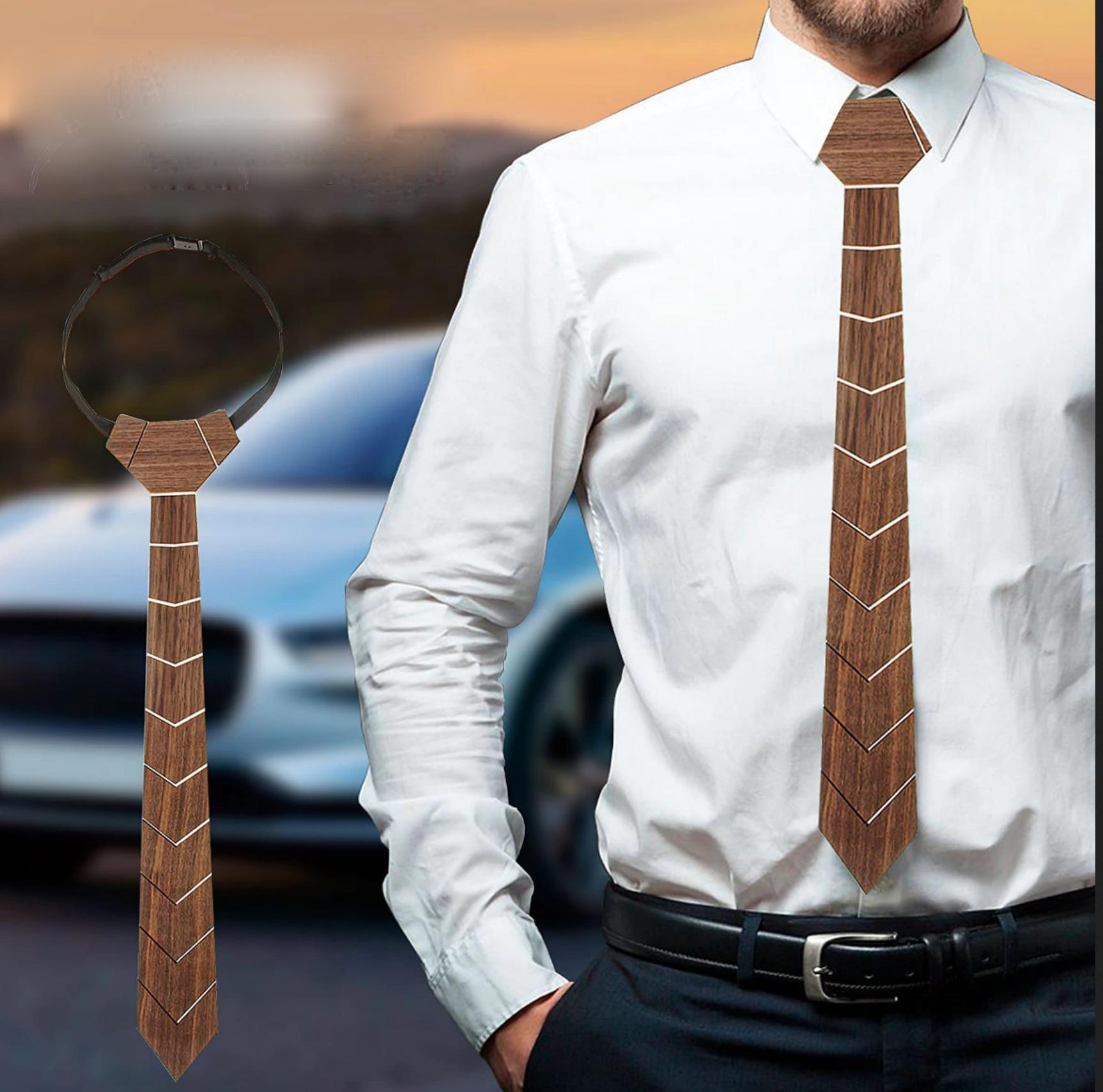 Cravate bois pliable boho boheme chic access0368