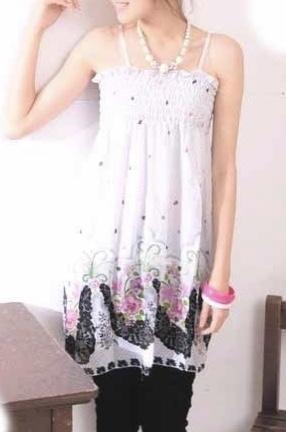 Robe courte tunique imprimée plage DRESS1464