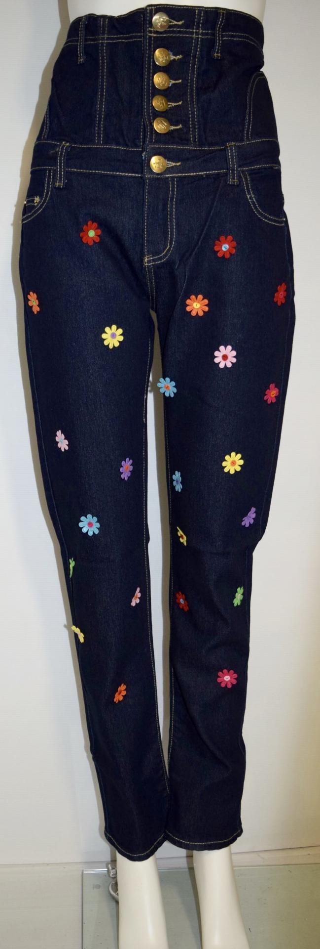 Jean fleurs cousues taille haute marque boho boheme chic JEANS0004