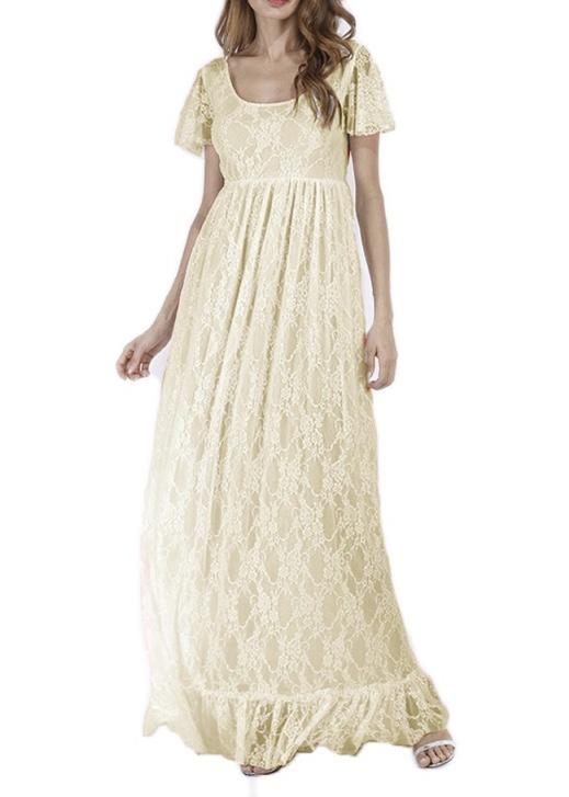 Robe dentelle beige boho boheme chic DRESSL1418