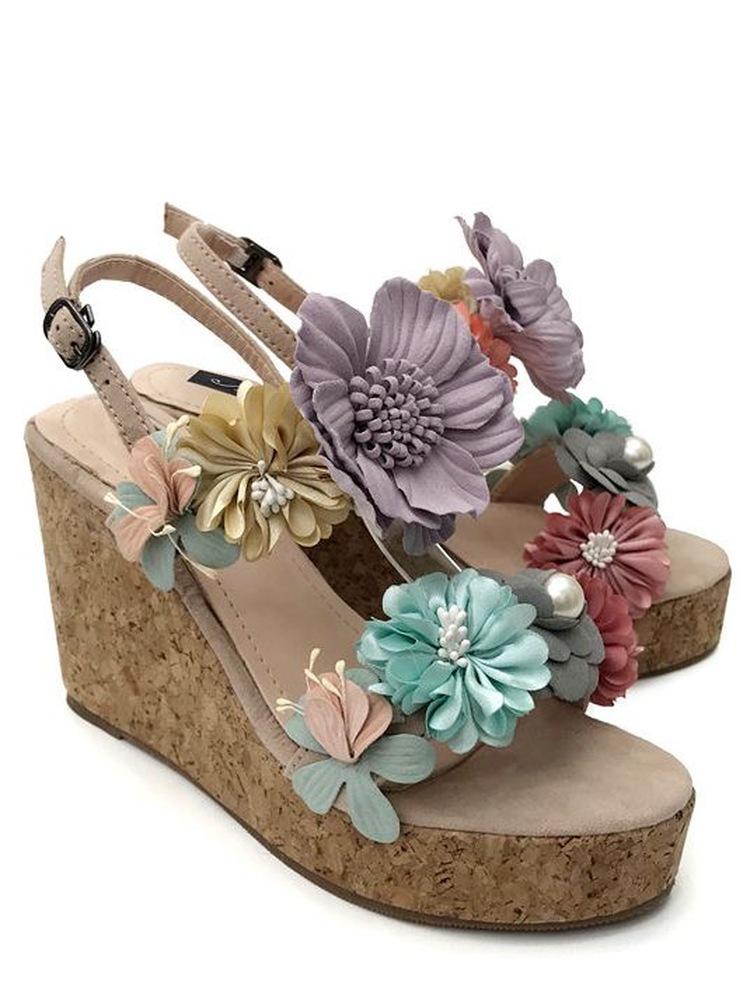 Chaussures compensées fleurs tissu boho boheme chic shoes0088