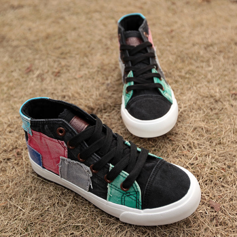 Chaussures tennis patchwork boho boheme chic shoes0075