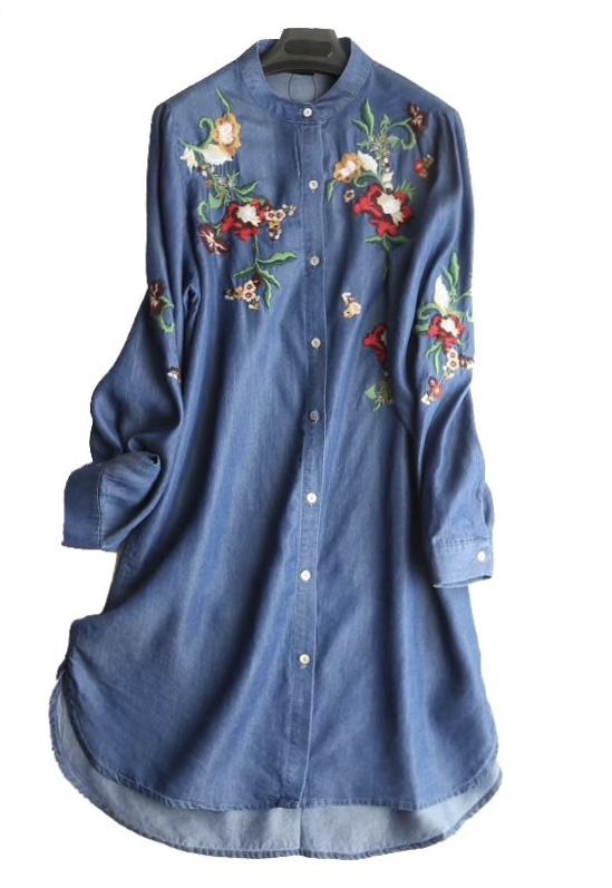 Robe brodée jean boutonnée boho bohème chic DRESS1698