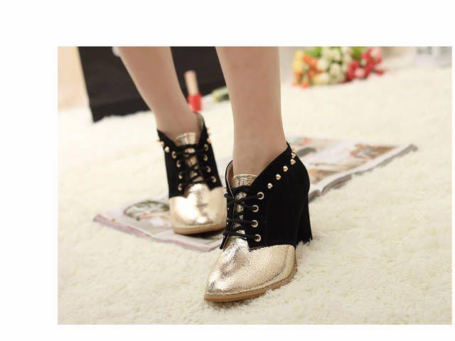 Chaussure talon noir et doré boho boheme chic shoes0018