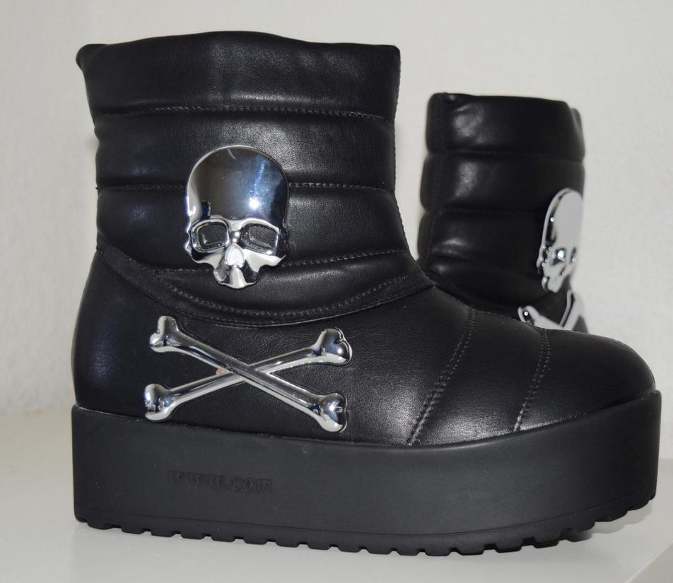 Boots noirs tête de mort boho boheme chic shoes0016