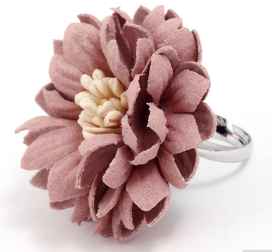 Bague ajustable fleur tissu boho bohème chic RING0570