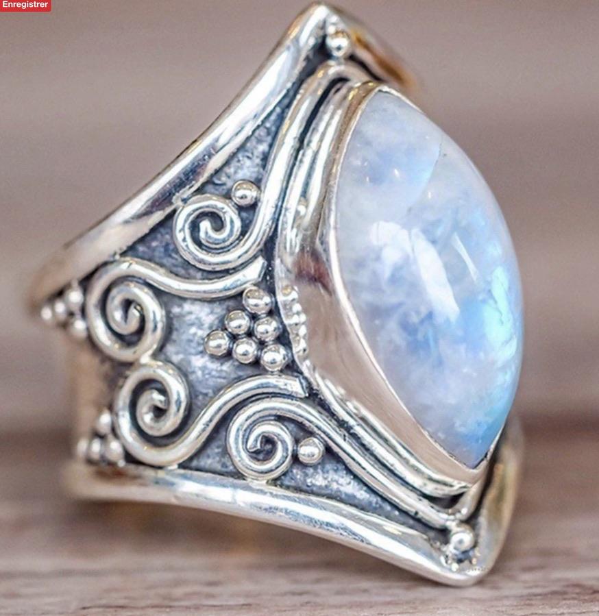Bague argentée opale boho bohème chic RING0557