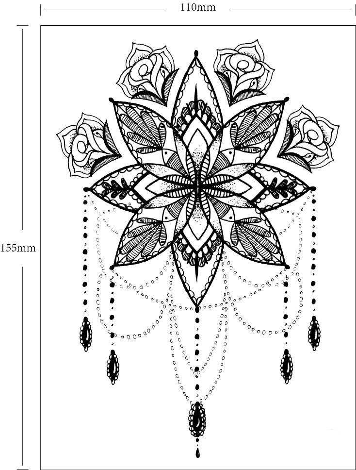Tatouage temporaire fleurs bijoux boho bohème chic tattoo0370
