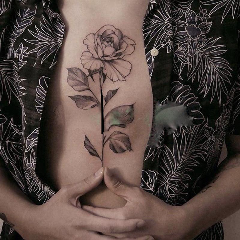 Tatouage temporaire rose noire boho bohème chic TATTOO0368