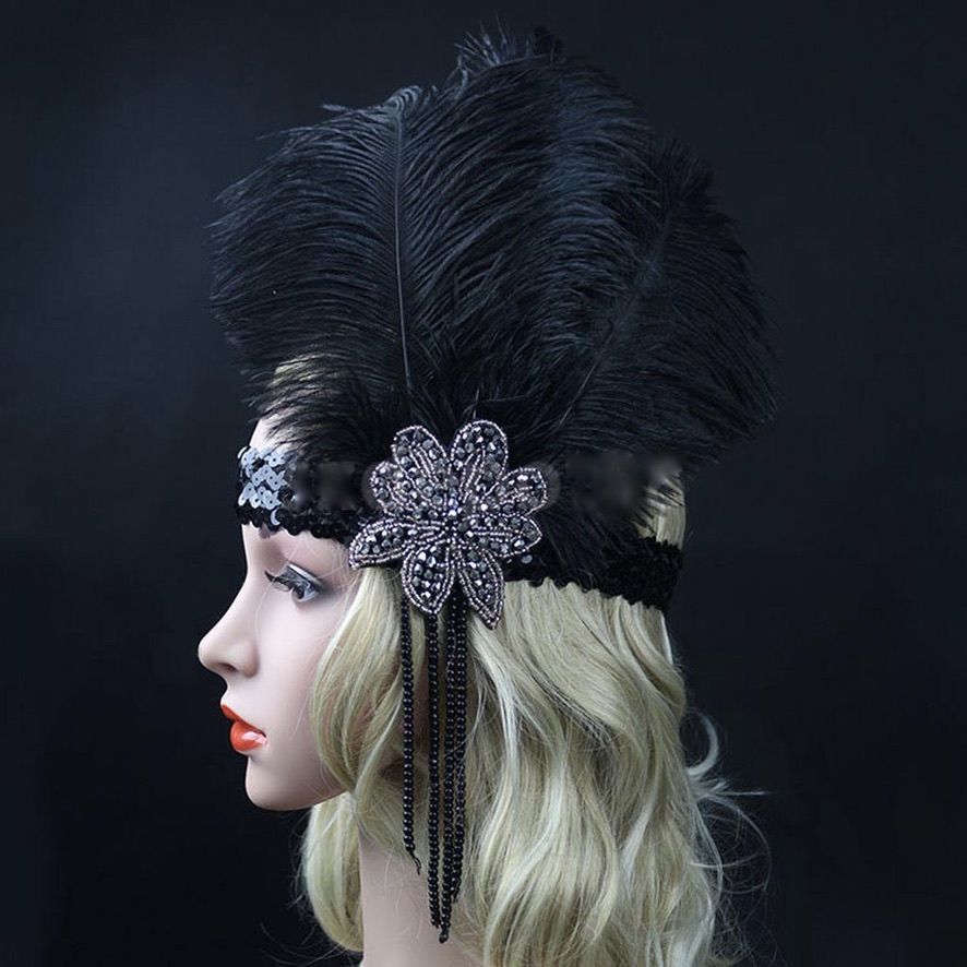 Bandeau cheveux plumes gatsby boho boheme chic HAIR0426