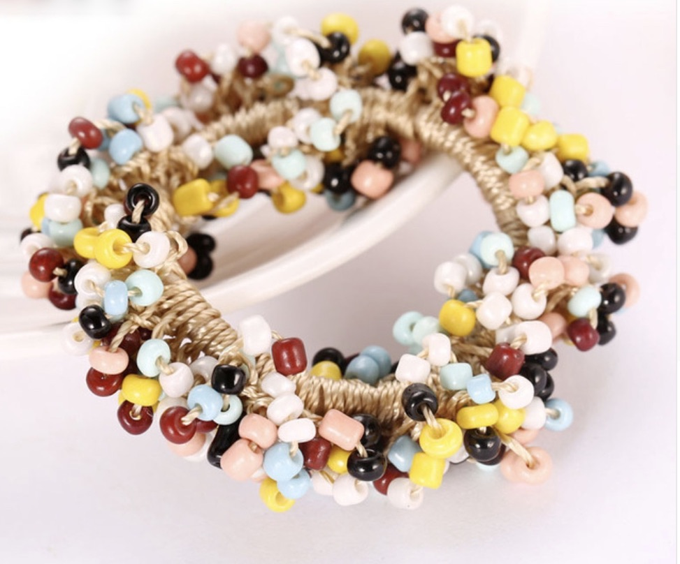 Elastique cheveux perles rocaille boho boheme chic HAIR0423