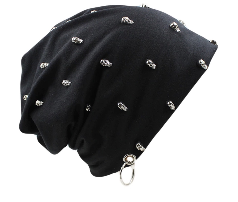 Bonnet tissu noir têtes de mort boho bohème chic  HAT0047