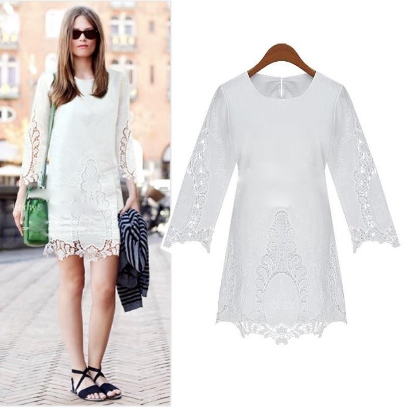 Robe blanche coton brodé boho boheme chic dress1007
