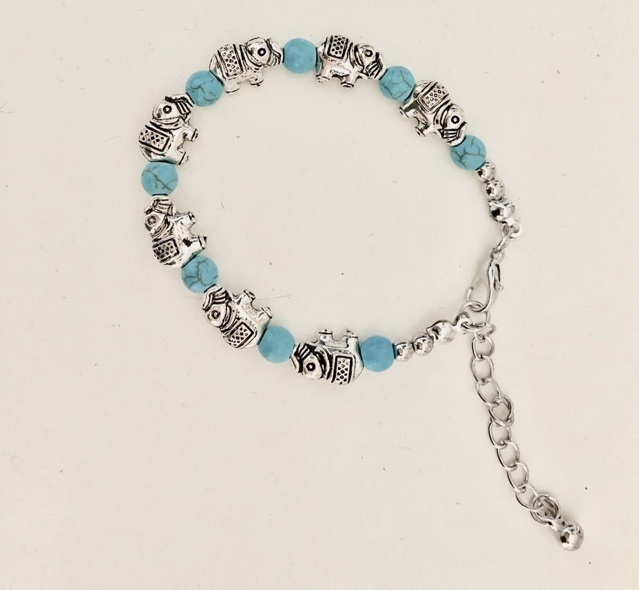 Bracelet argenté turquoises boho boheme chic BANGLE0622