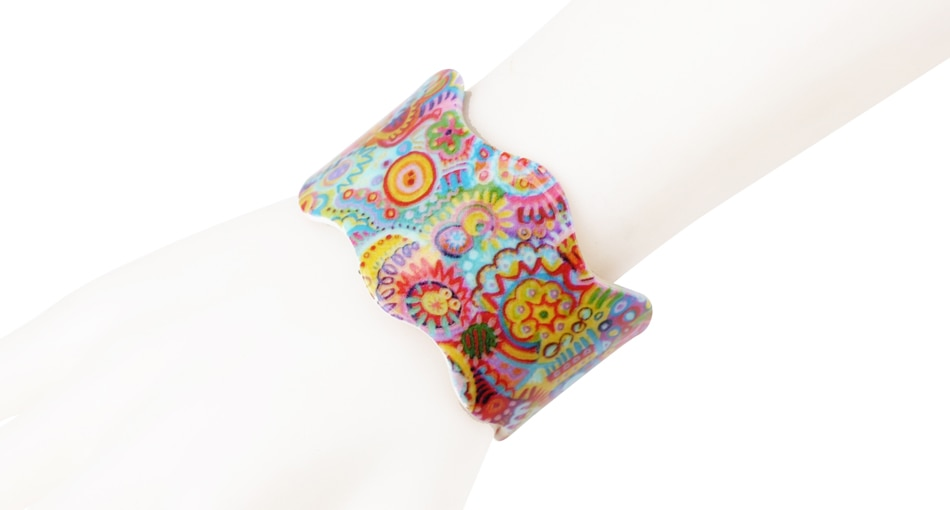Bracelet acrylique imprimé hippie boho boheme chic BANGLE0621
