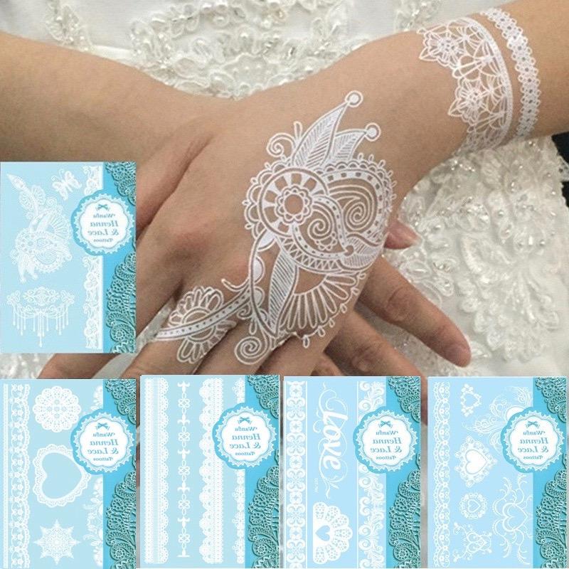 Tatouage temporaire style henné blanc mariage boho bohème chic TATTOO0363
