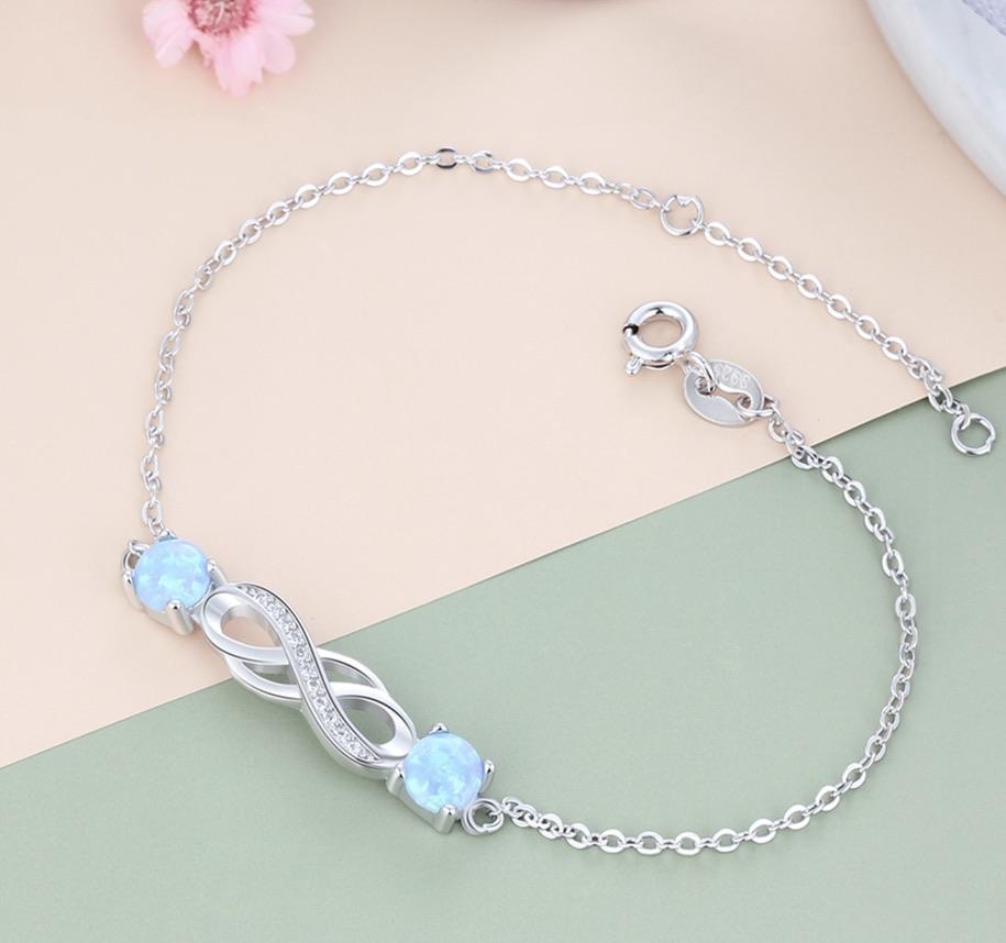 Bracelet argent 925 opales boho bohème chic BANGLE0619