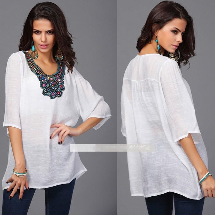 Top blouse tunique encolure bijou marque boho boheme chic top0141