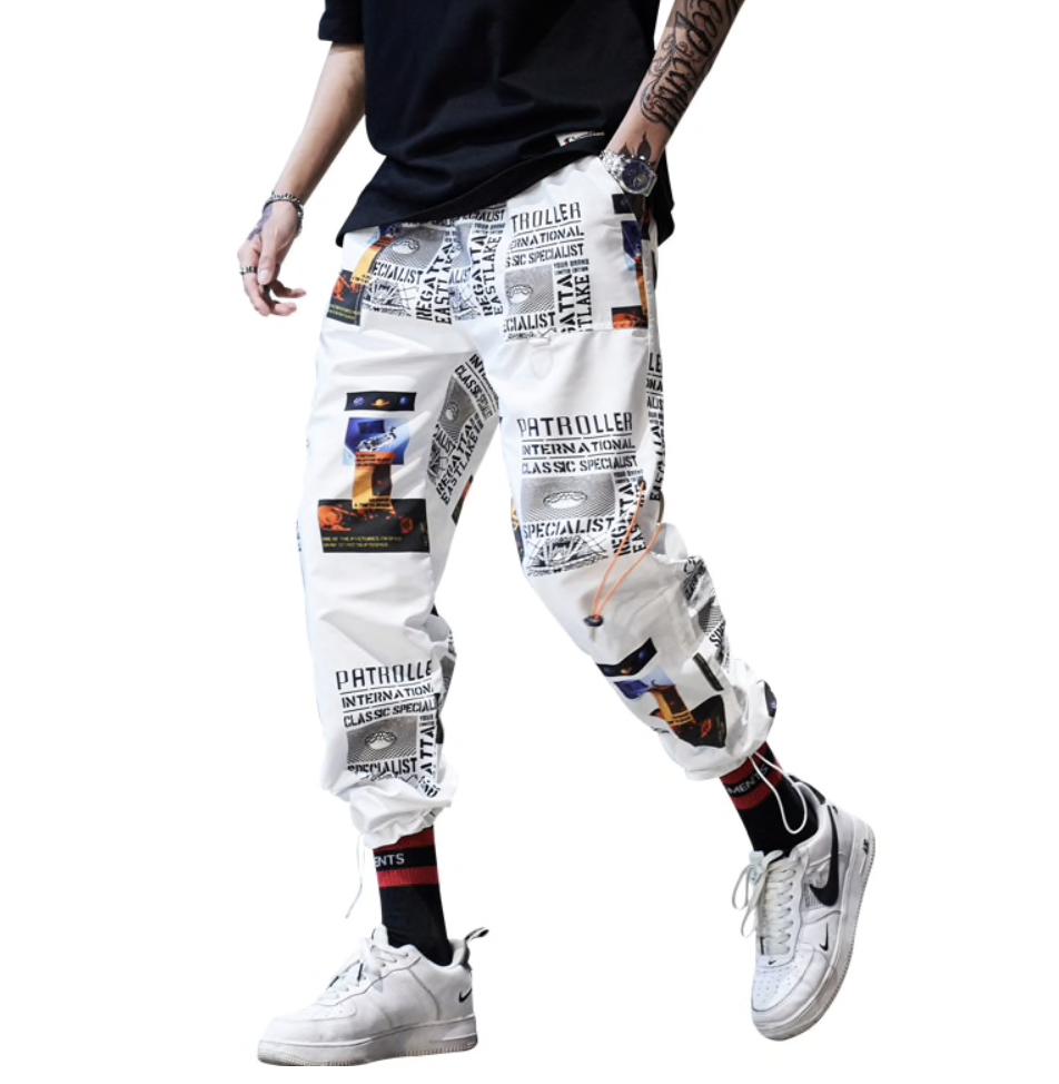 Pantalon blanc imprimé homme boho boheme chic HOM0082
