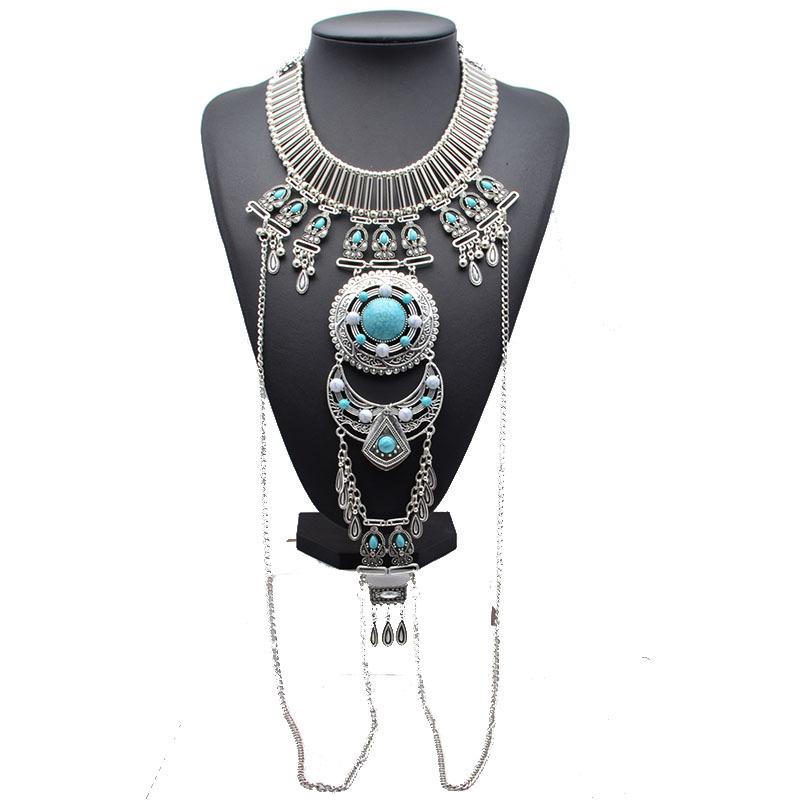 Collier médaillon turquoises boho boheme chic NECKL0597