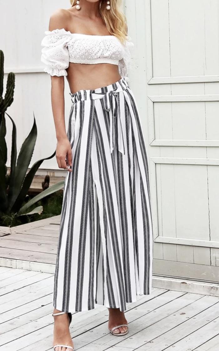 Pantalon ample rayures boho bohème chic PANTS0234