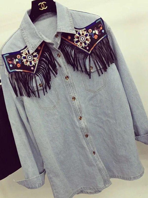 Chemise jean brodée boho boheme chic blouse0211
