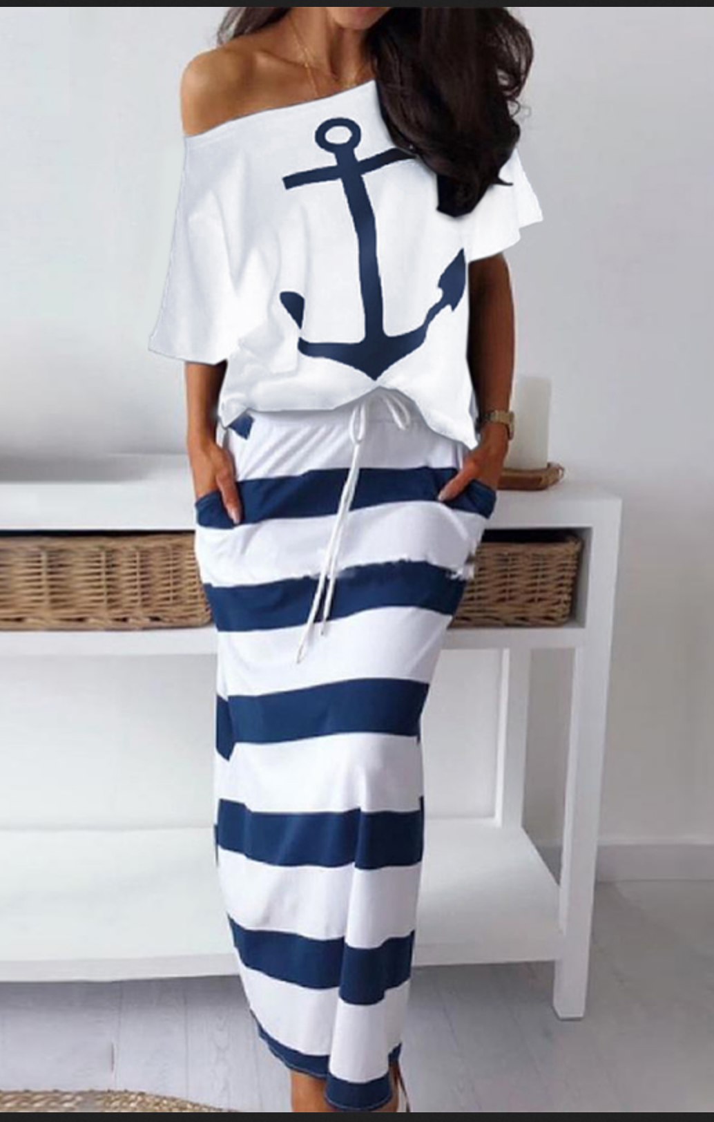 Ensemble jupe top rayures marin  boho boheme chic ENS007